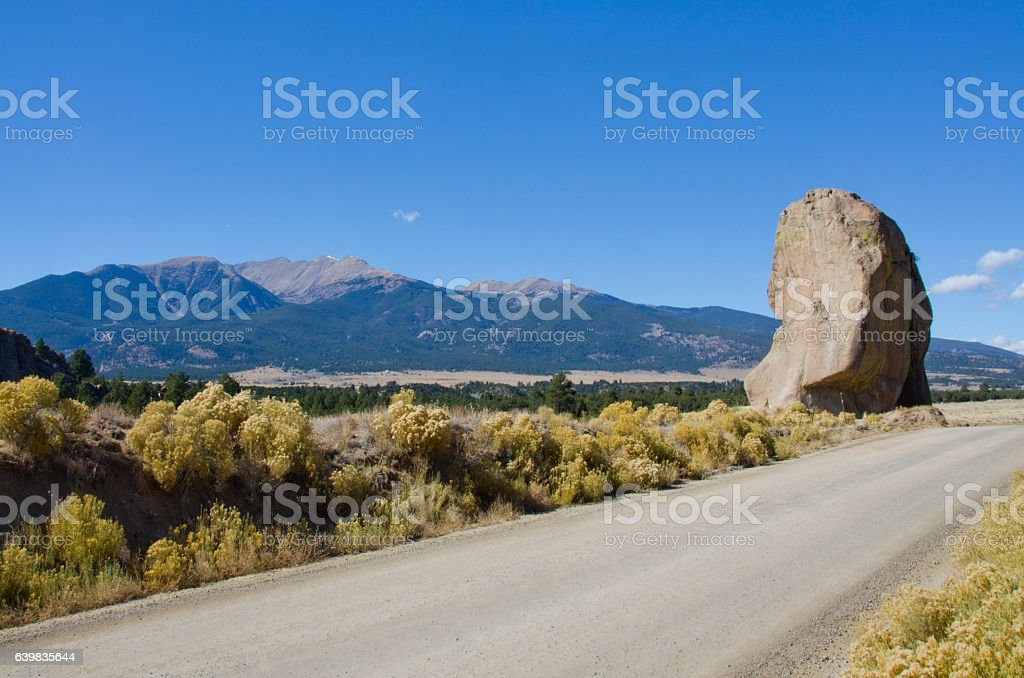 Granite Boulder and Mount Columbia and Mount Harvard stock photo