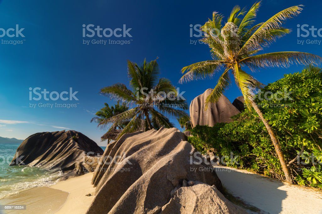 Granite boulders on Anse Source d'Argent on Seychelles stock photo