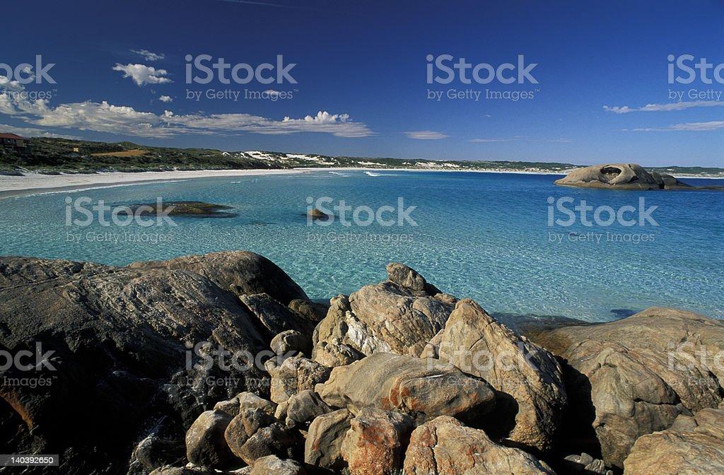 Granite Coastline with beach royalty-free stock photo