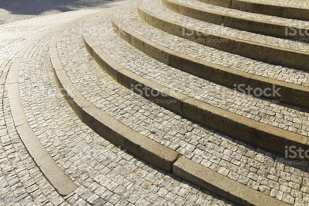 Granite cobblestone stairs stock photo
