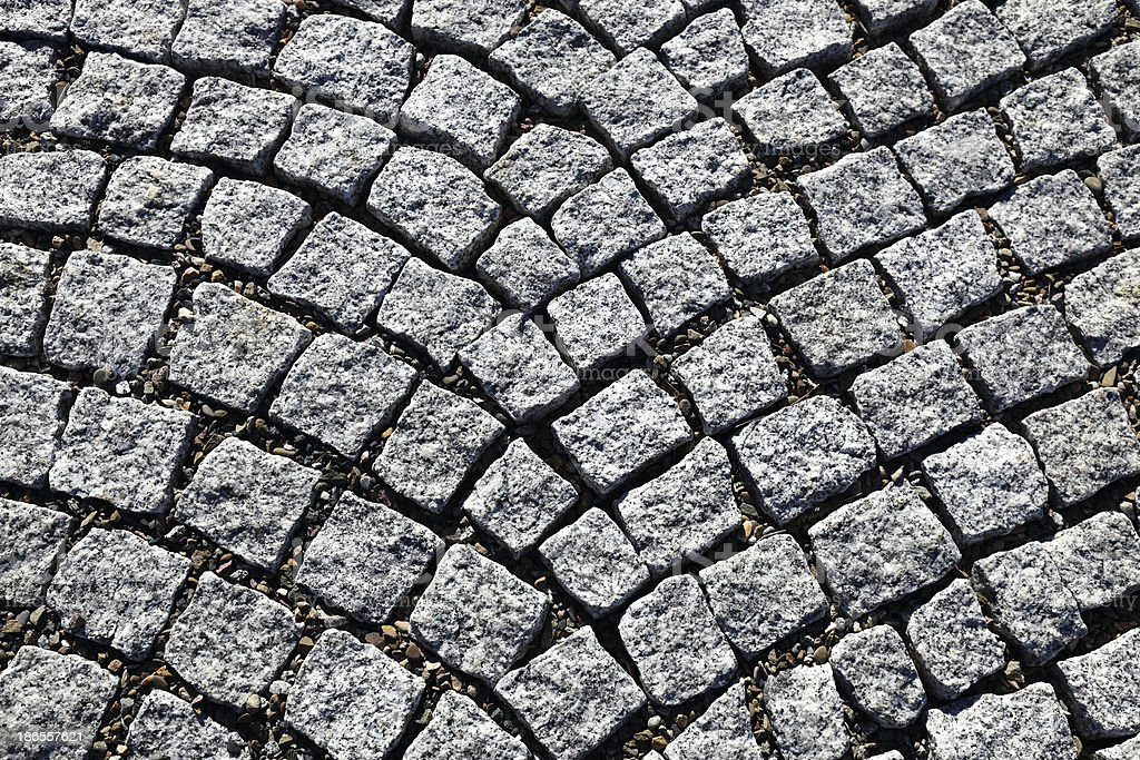 Granite cobblestoned pavement royalty-free stock photo
