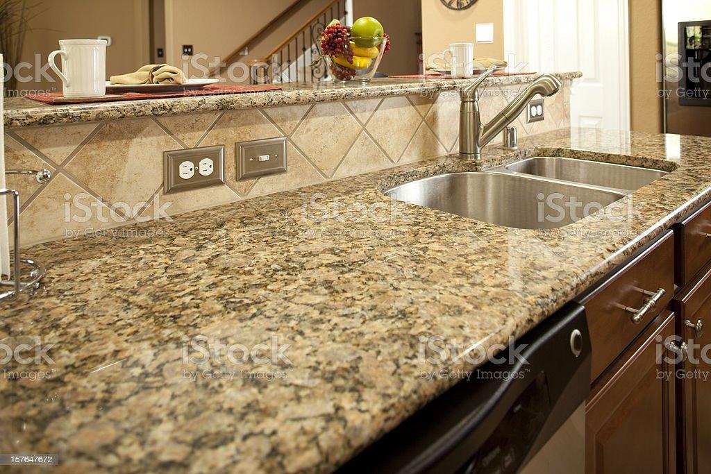 Granite Kitchen Counter With Dishwasher Underneath Sink