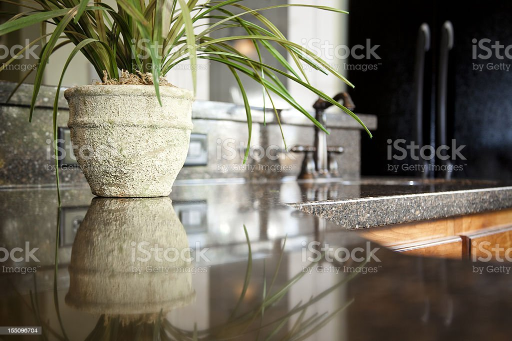 Granite kitchen counter with sink and pot plant. stock photo