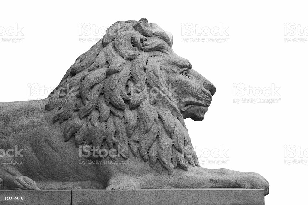 Granite Lion On White Background royalty-free stock photo