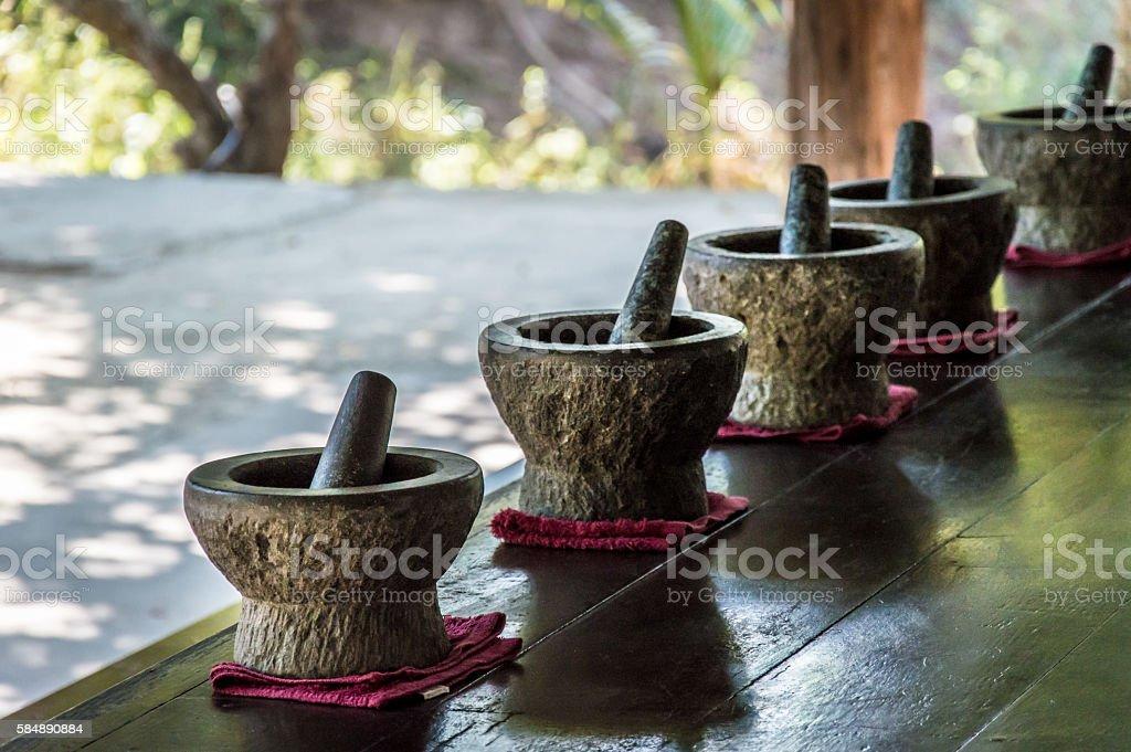 Granite mortar and pestle stock photo