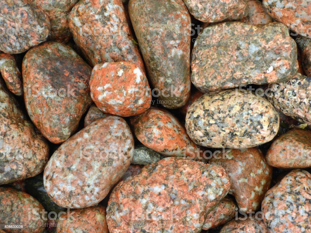 Granite Pebbles, Eroded by Waves, Isle of Iona, Scotland stock photo