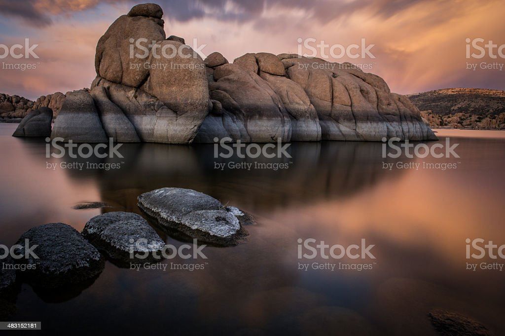 Granite reflection stock photo