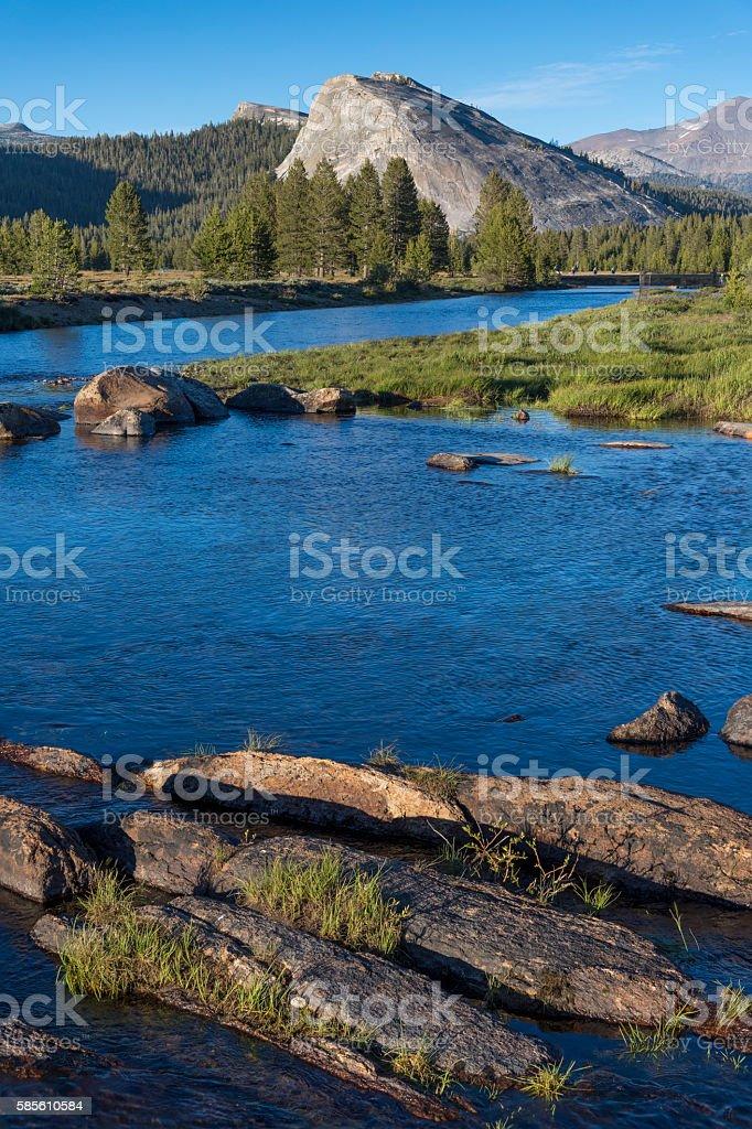 Granite Rocks and the Tuolumne River stock photo