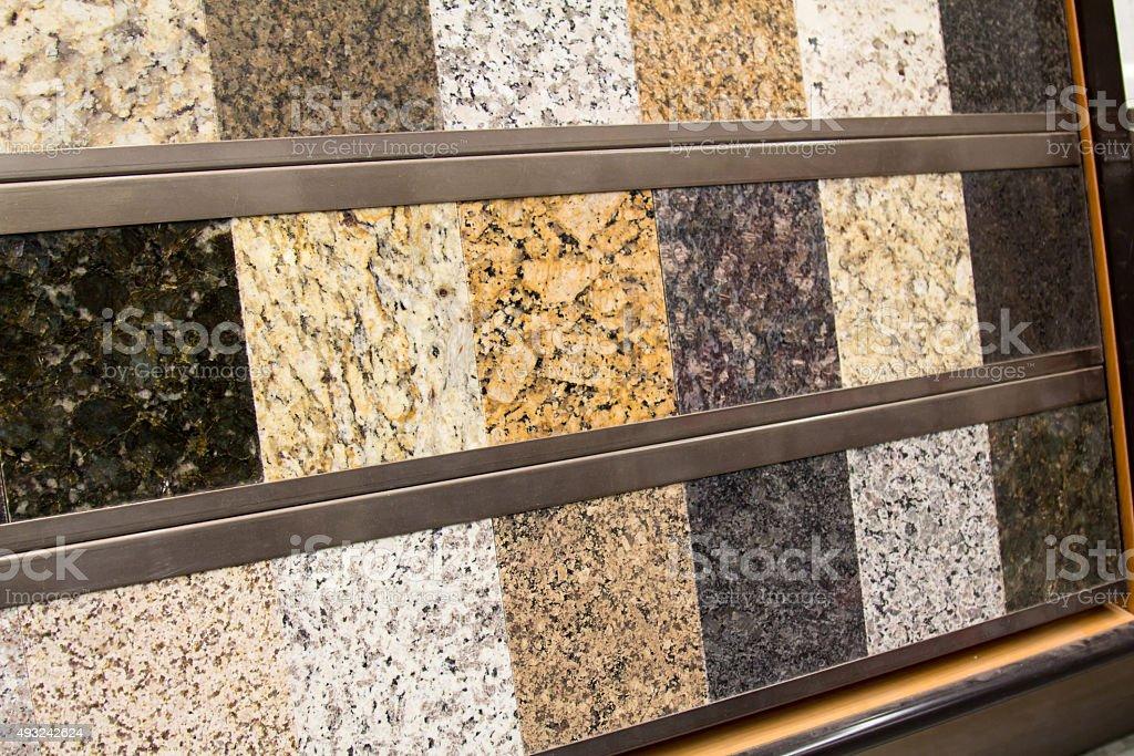 Granite sample display at a home improvement store stock photo