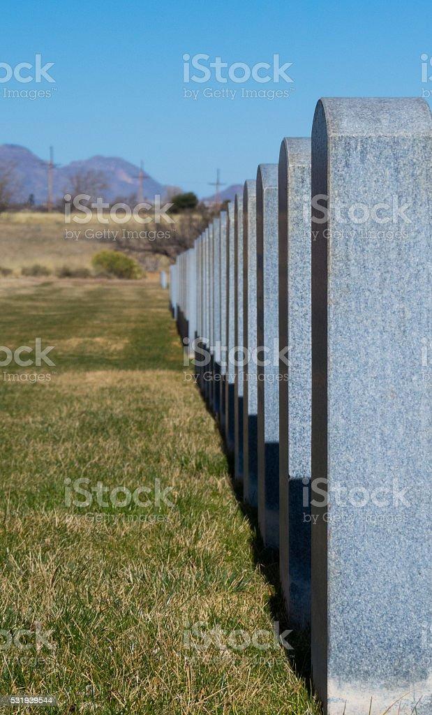 Granite Tombstones stock photo