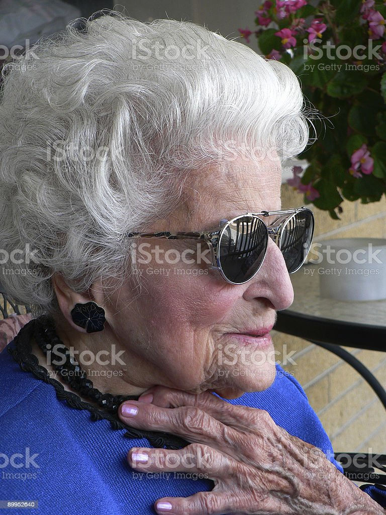 Granny In sunglasses royalty-free stock photo