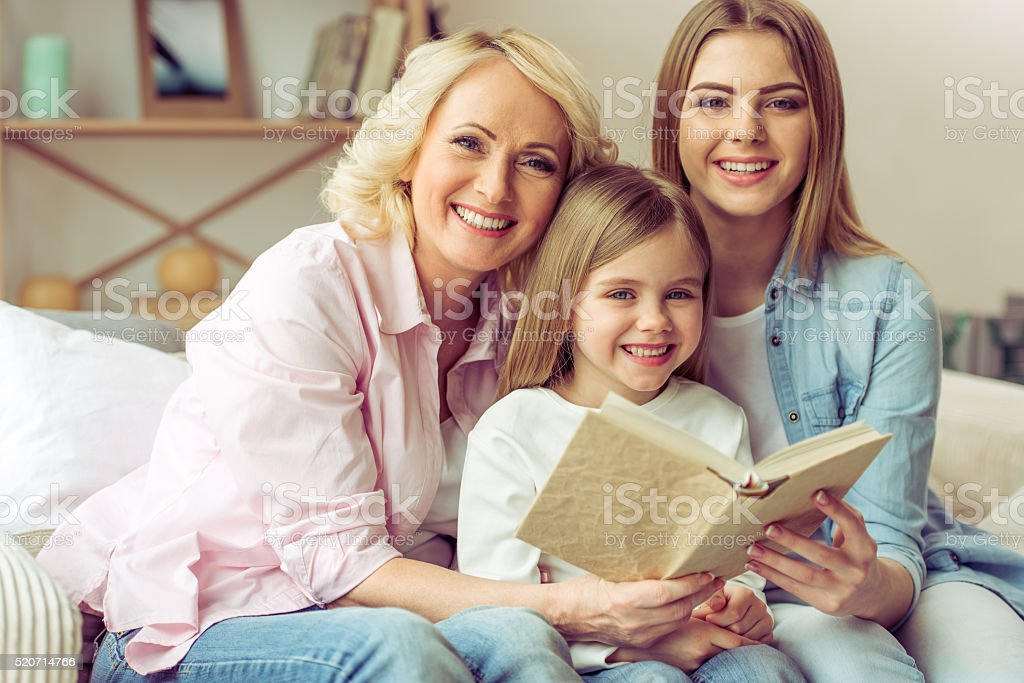 Granny, mom and daughter stock photo