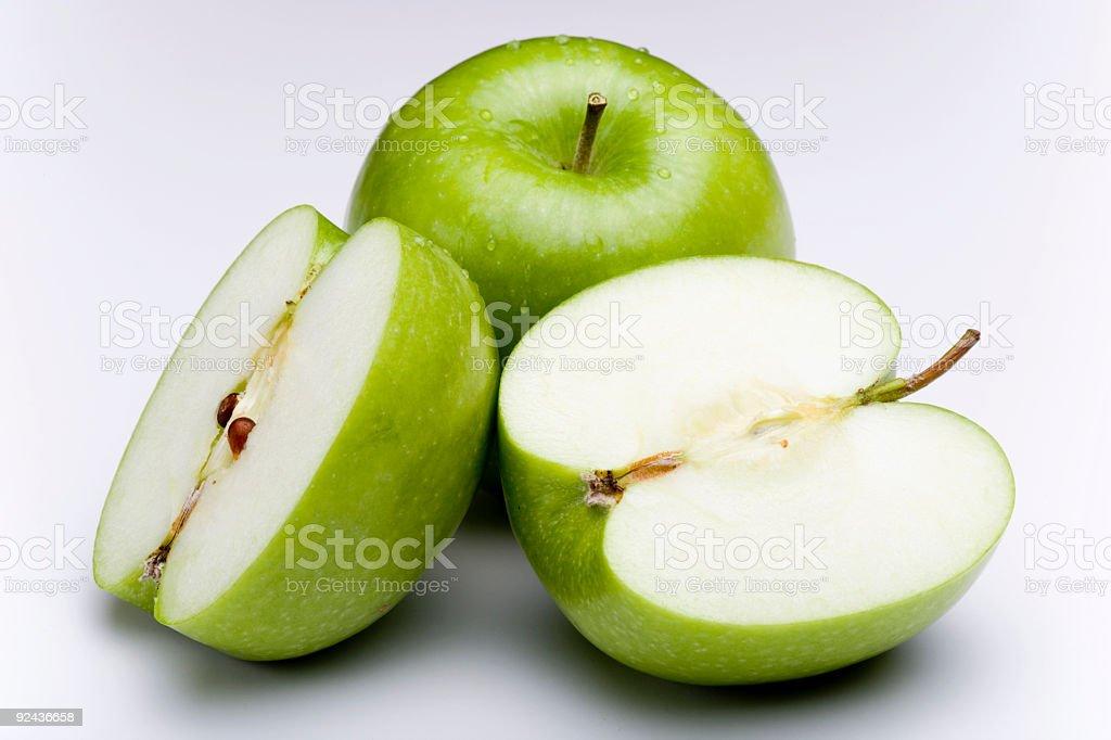 Granny Smith Apples / Cut royalty-free stock photo