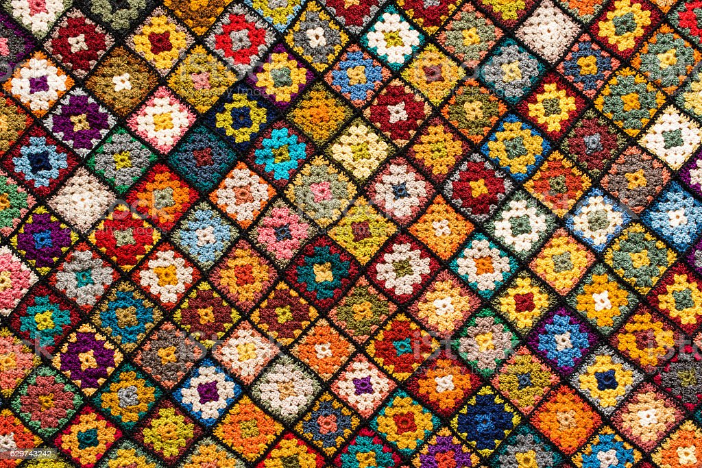 Granny square afghan stock photo