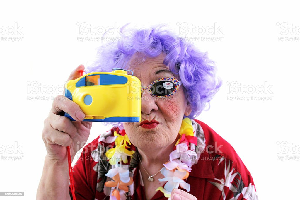 Granny Whack Series: Tourist with toy camera royalty-free stock photo