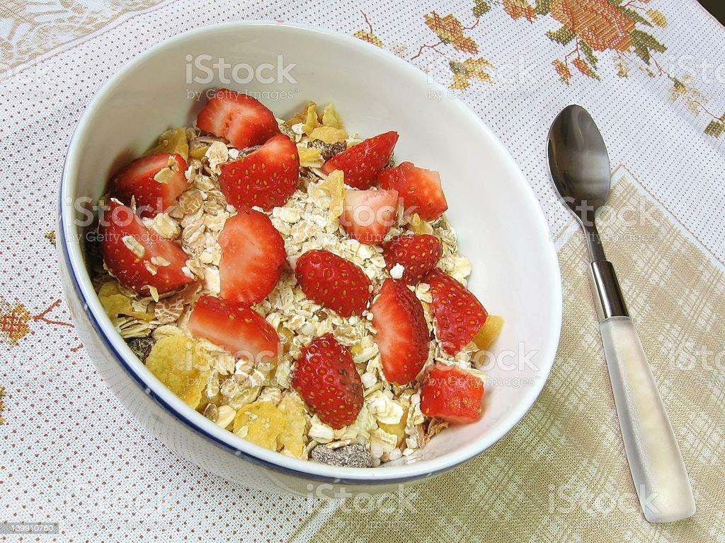Granola and strawberries royalty-free stock photo