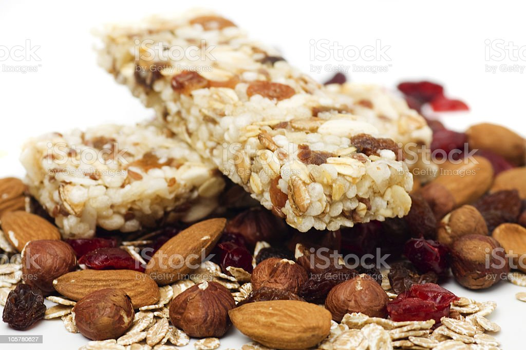 Granola bar on white background stock photo