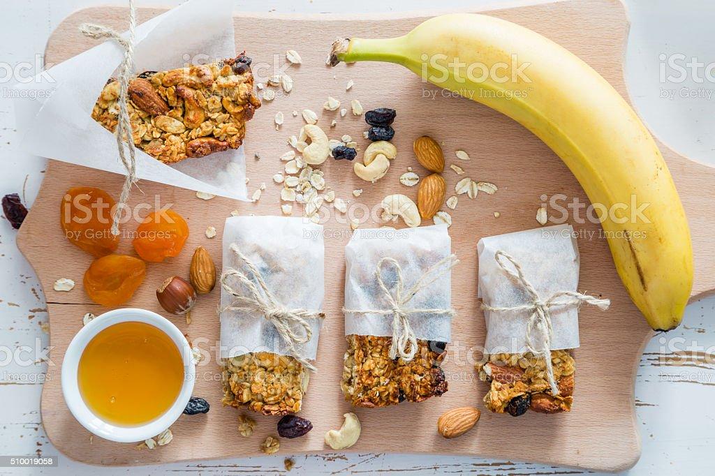 Granola bars and ingredients stock photo