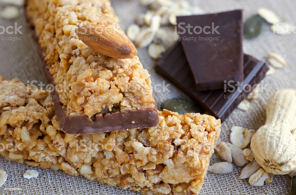 Granola bars. Closeup stock photo