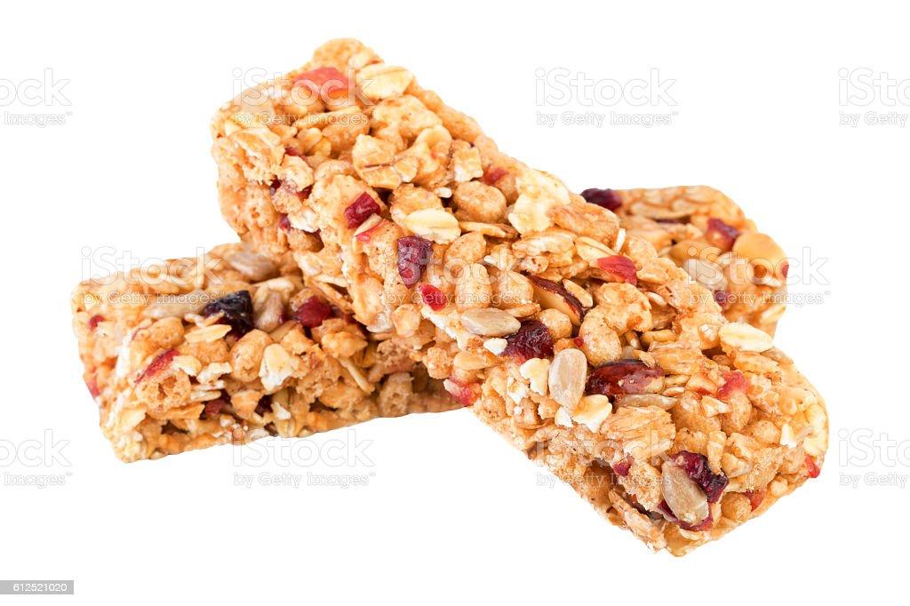 Granola bars isolated on white. stock photo