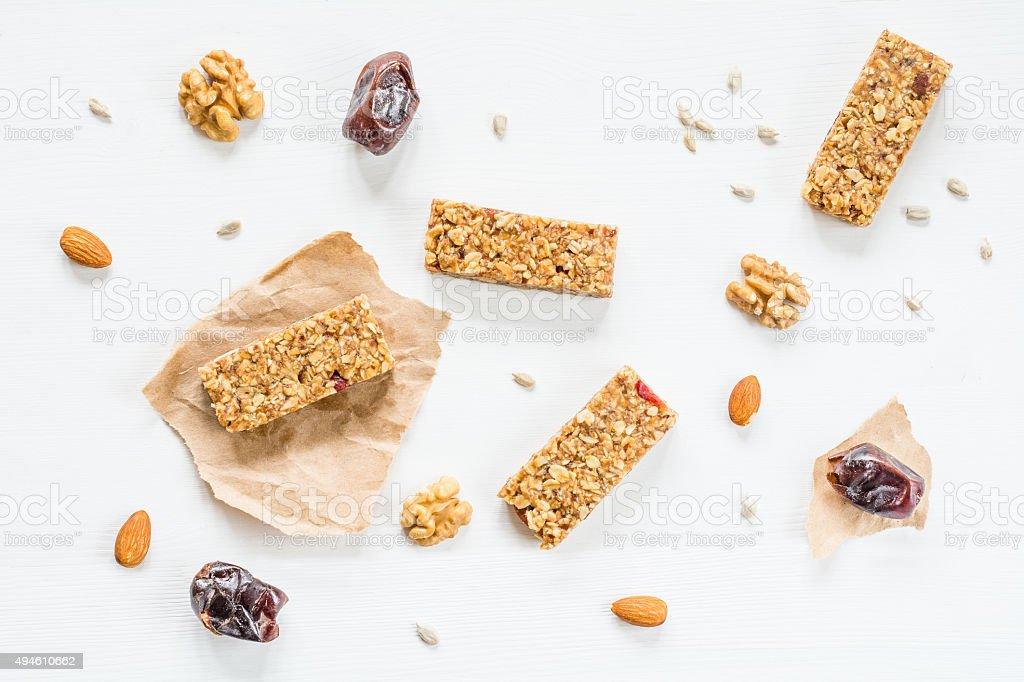 Granola bars or energy bars on white background stock photo