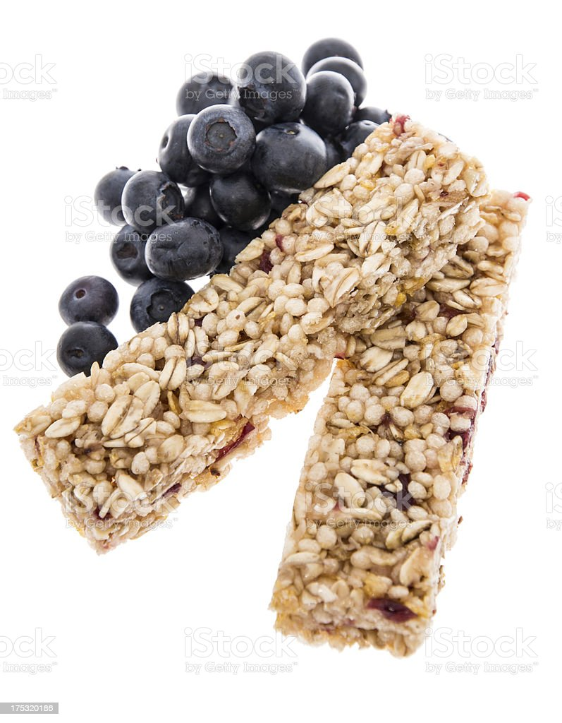 Granola Bars with Blueberries - isolated royalty-free stock photo