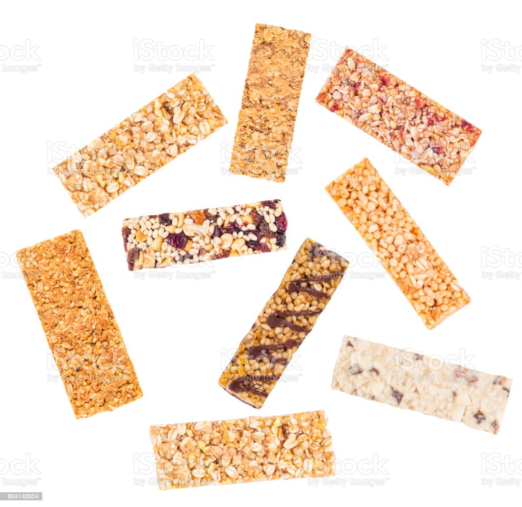 Granola bars with cereals and dried fruit stock photo