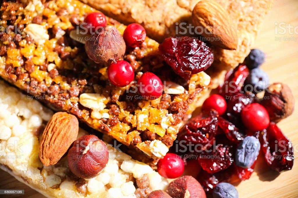 Granola Bars with Cranberries, Almonds and Raisins stock photo