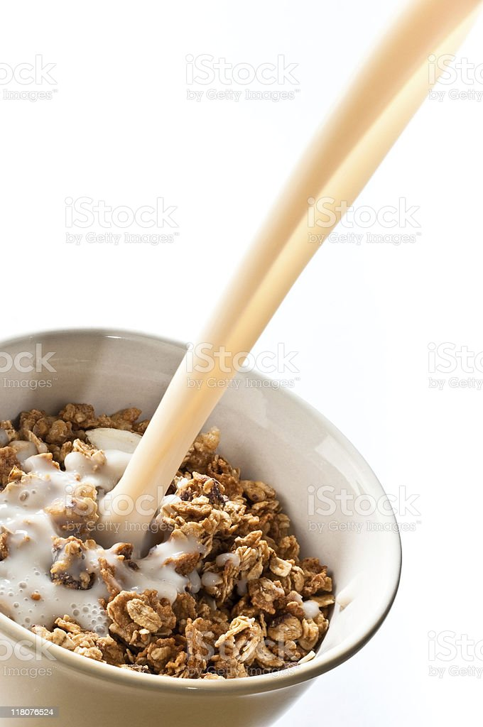 Granola Cereal and Milk in a Bowl royalty-free stock photo