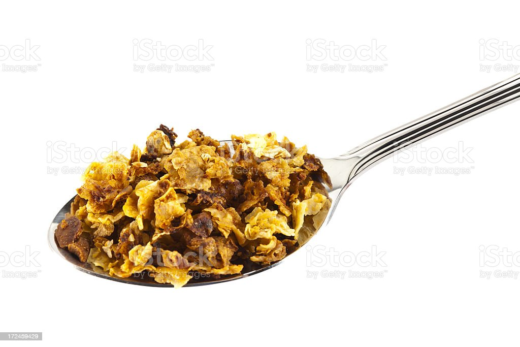 Granola Cereal on Spoon royalty-free stock photo