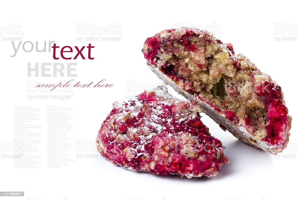 Granola cookie with oatmeal and raspberries. Healthy lifestyle royalty-free stock photo