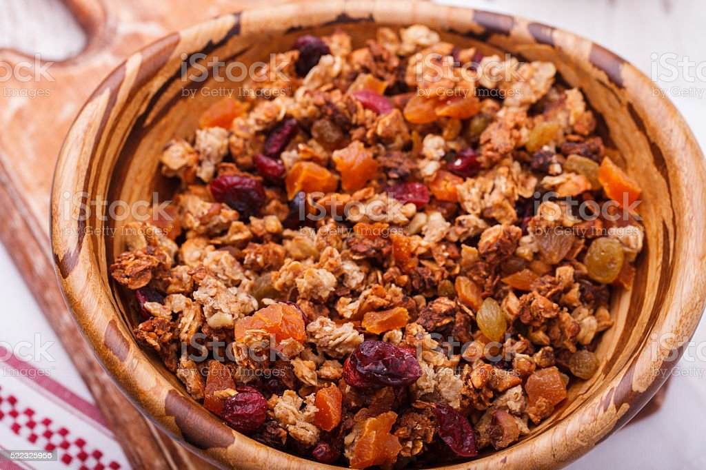 Granola from several types of cereals with nuts stock photo