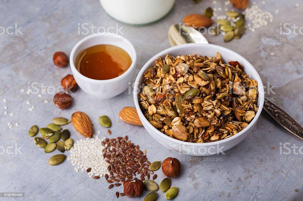 Granola in bowl stock photo