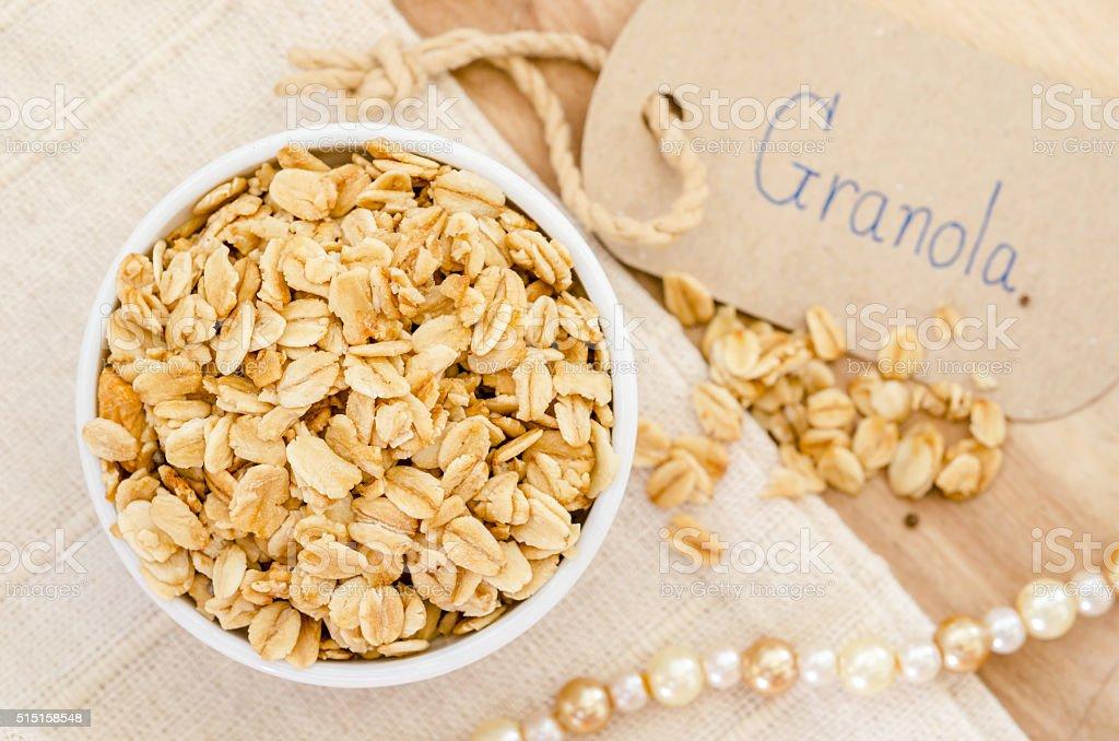 Granola in white bowl. stock photo