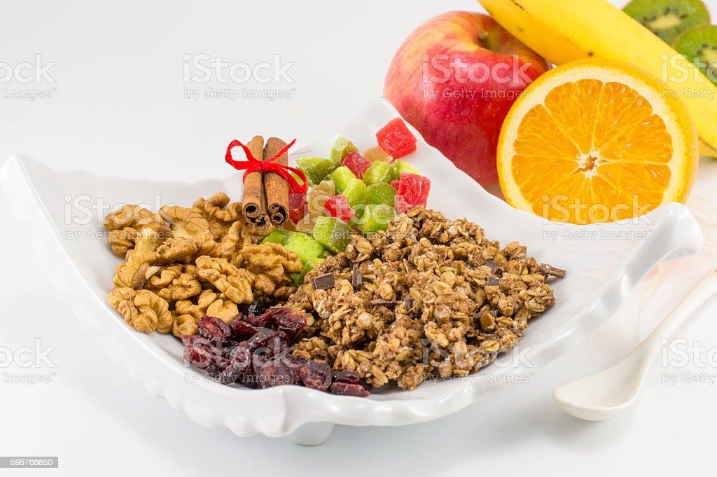 Granola Muesli with fruit for healthy breakfast stock photo