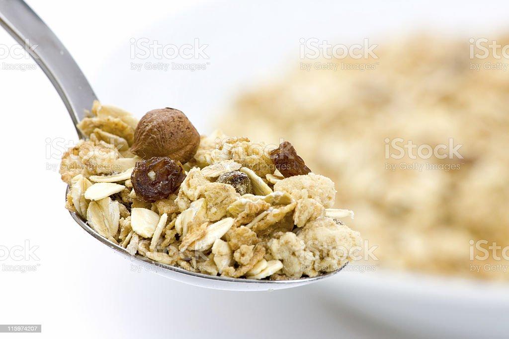 Granola on spoon royalty-free stock photo
