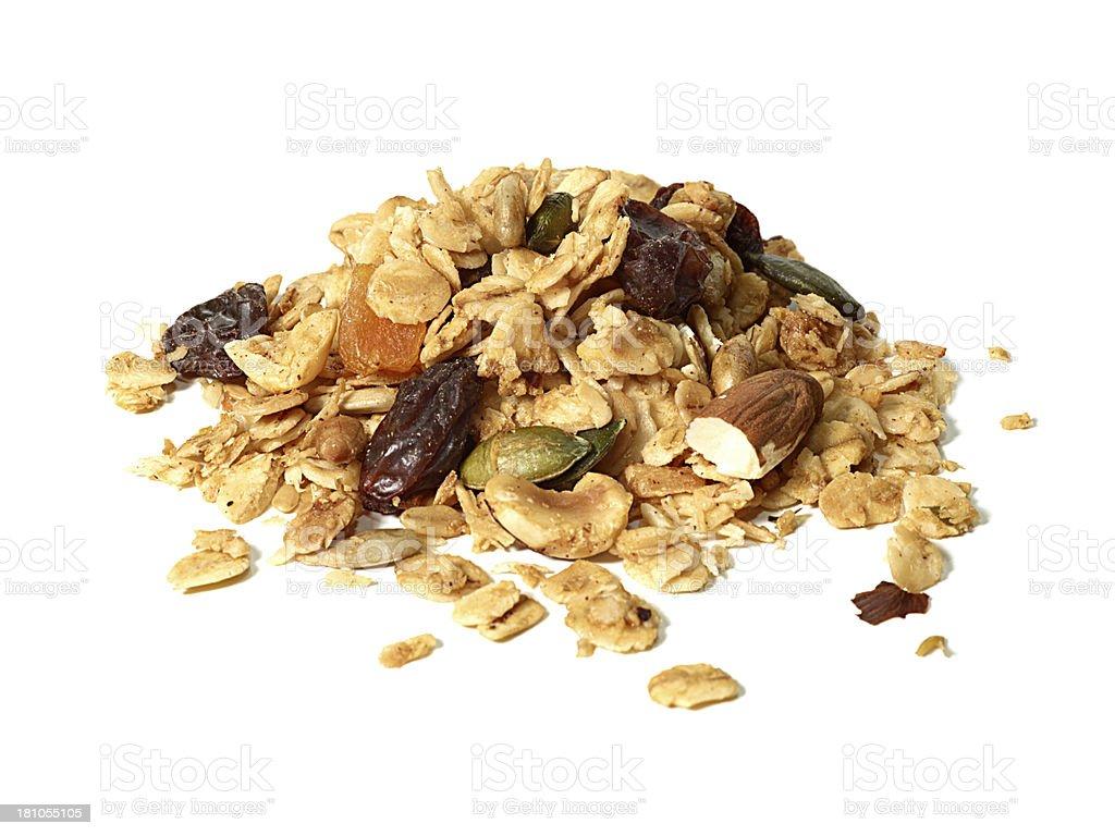 Granola on white background stock photo