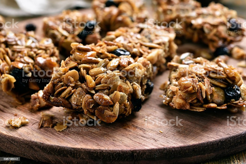 Granola pieces, close up view stock photo
