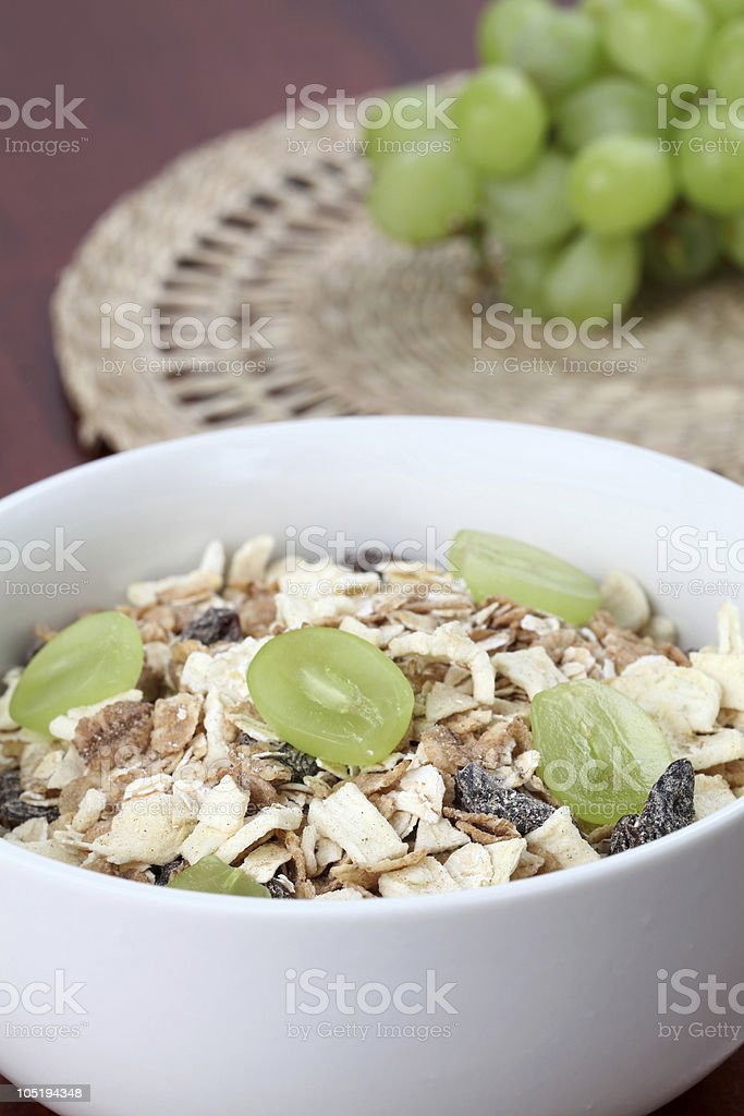 Granola with fresh grapes royalty-free stock photo
