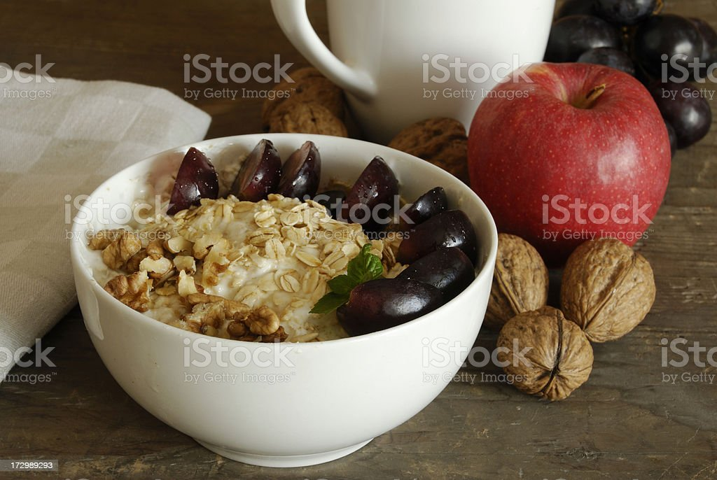 granola with walnuts and fruit stock photo