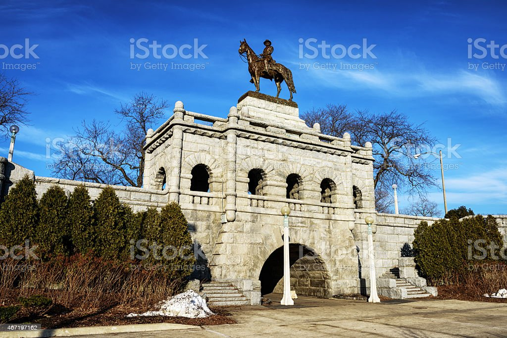 Grant Memorial Statue in Lincoln Park, Chicago stock photo