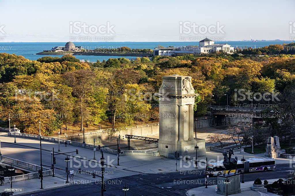 Grant Park and Museum Campus in Autumn, Chicago stock photo