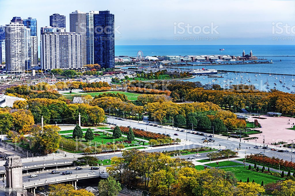 Grant Park in The Loop, downtown Chicago stock photo