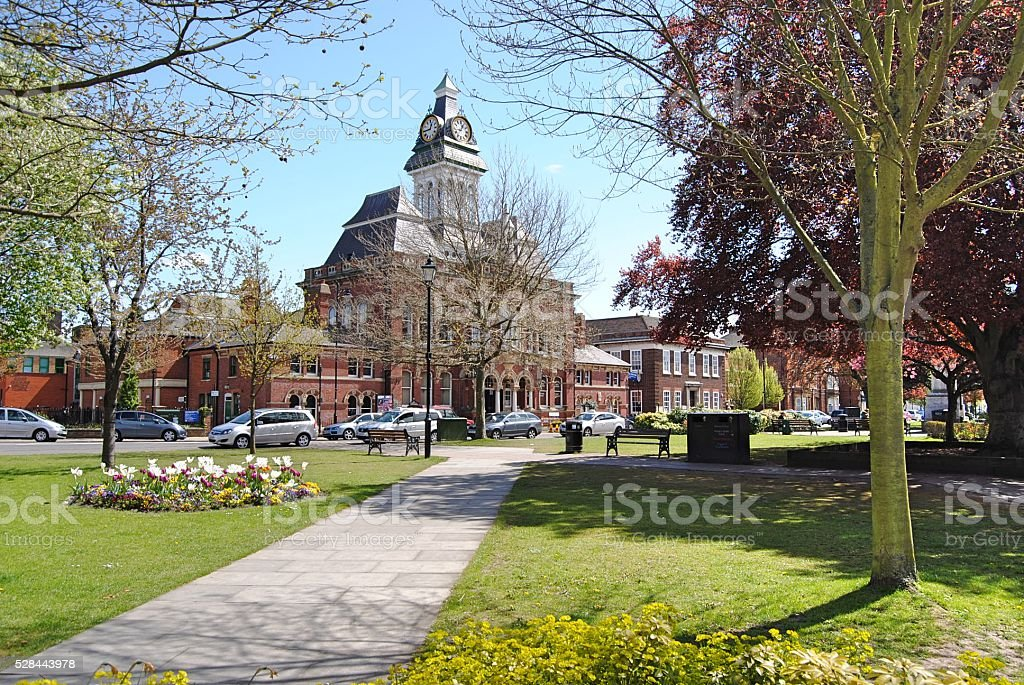 Grantham Town Centre & Guildhall stock photo