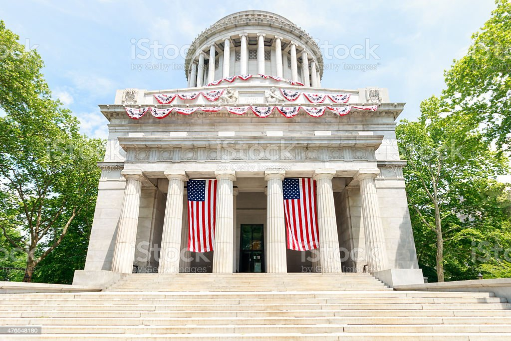 Grant's Tomb with United Staes Flags - New York City stock photo