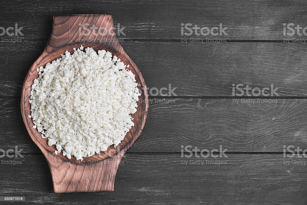 Granulated cottage cheese stock photo