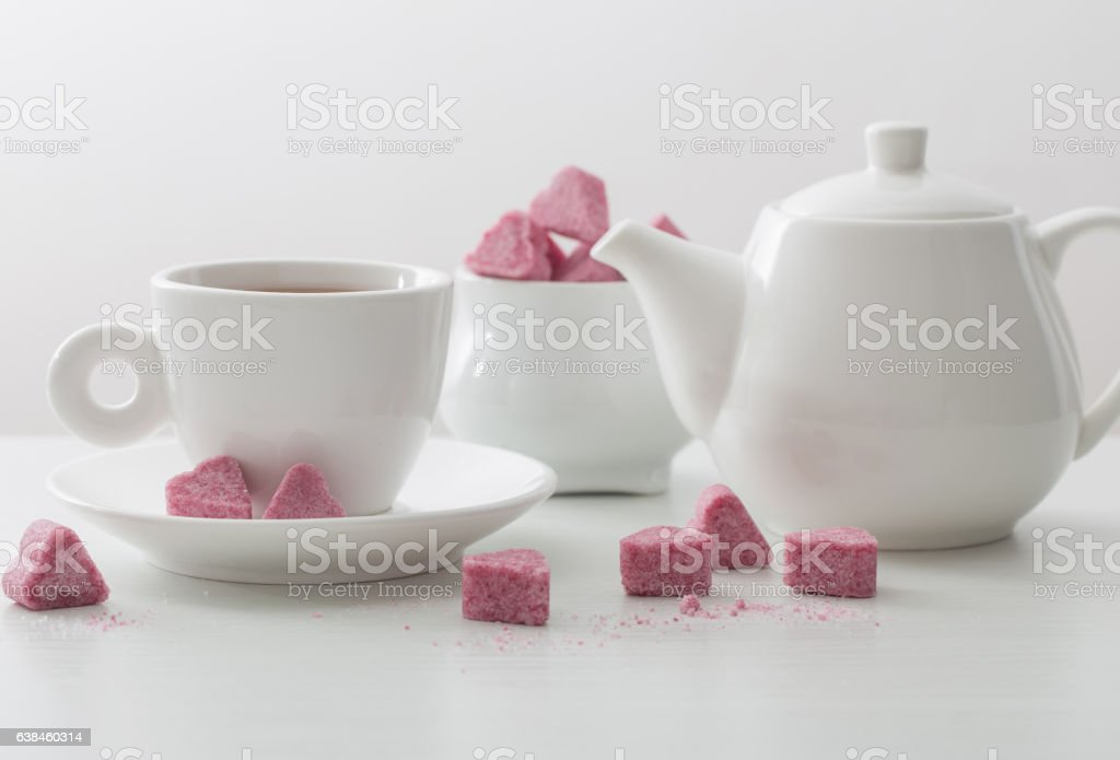 Granulated pink sugar  in the shape of heart stock photo