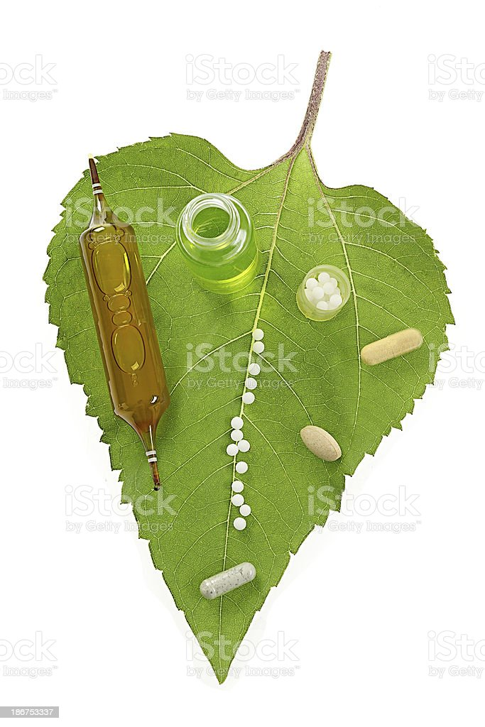 Granules on tree leaf Natural Medicine - Drugs & Derivatives royalty-free stock photo