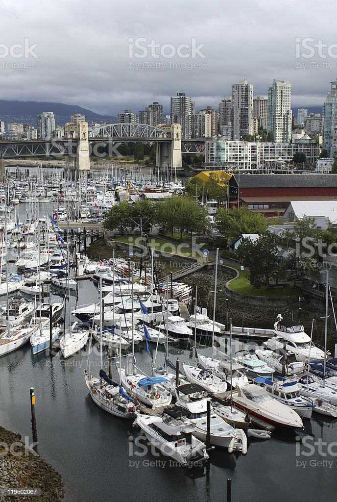 Granville Island and Vancouver Skyline vertical royalty-free stock photo