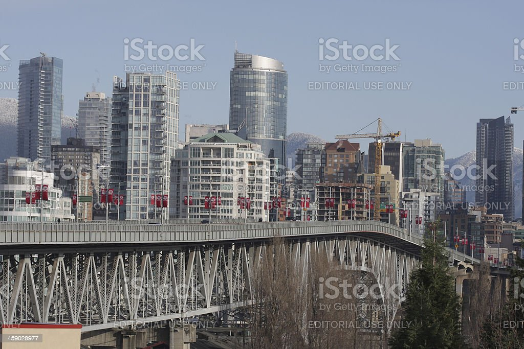Granville Street Bridge and Downtown Buildings, Vancouver in Winter royalty-free stock photo